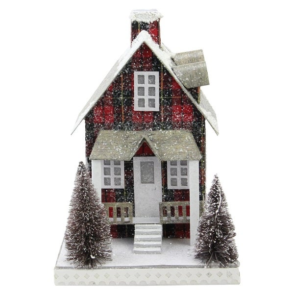 """9.5"""" Holiday Moments LED Lit Holiday Tartan House Christmas Decoration –Warm White Lights - RED"""