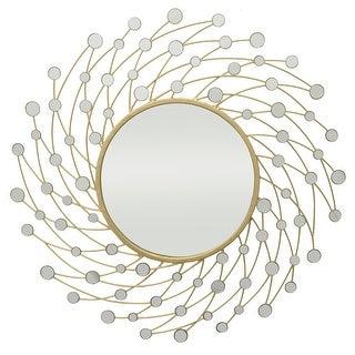 Three Hands Starburst Jeweled Mirror - Gold Metal