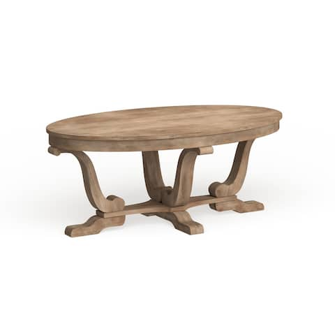The Gray Barn Harbour Head Stone White Wash Oval Cocktail Table
