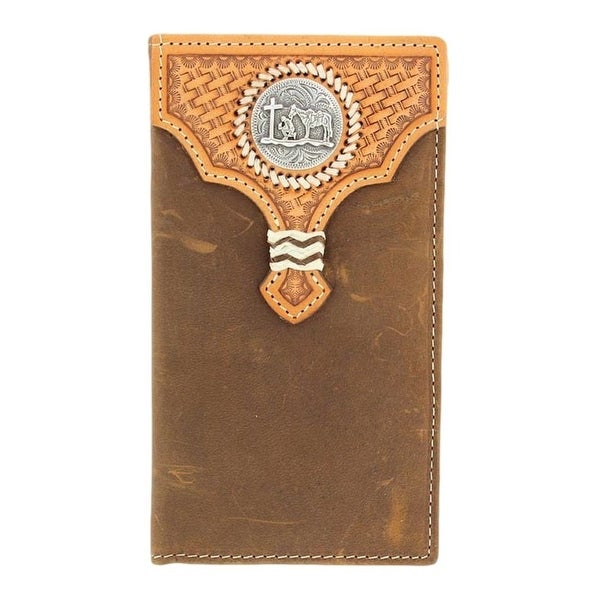 Nocona Western Wallet Mens Leather Rodeo Cowboy Prayer Brown - One size