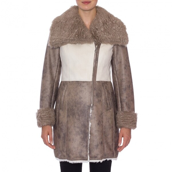Laundry by Shelli Segal Asymmetrical Zip Faux Shearling Coat