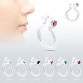 Bio-Flex Fake Nose Ring with CZ (Sold Ind.) (More options available)