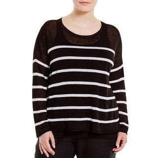 Eileen Fisher Womens Plus Crop Top Bateau Neck Striped