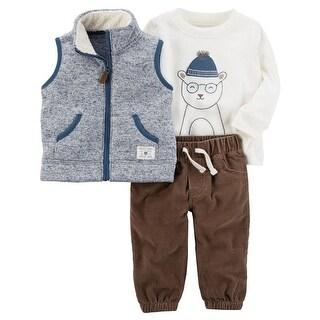 Carter's Baby Boys' 3-Piece Bear Sherpa Vest Set, 3 Months - Multi