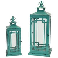 "Set of 2 Unique Antique Finished Teal Colored Candle Lanterns 22.25"" - Clear"