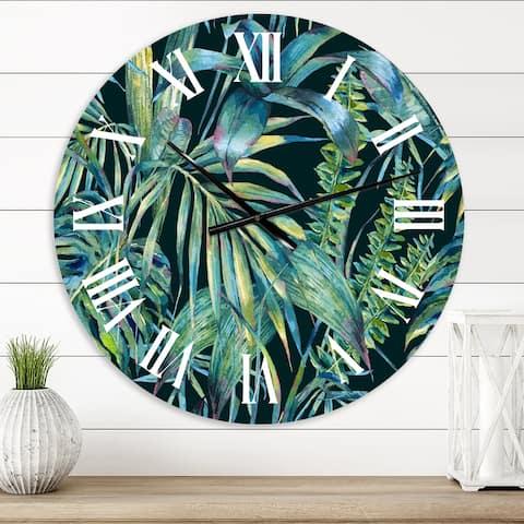 Designart 'Natural Leaves Exotic On Dark I' Tropical wall clock