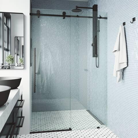 VIGO Elan E-class Shower Door in Matte Black with Clear Glass