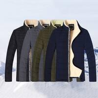 Men Fashion Winter Stand Collar Zip Thicken Jacket Warm Slim Outwear Coat Gift