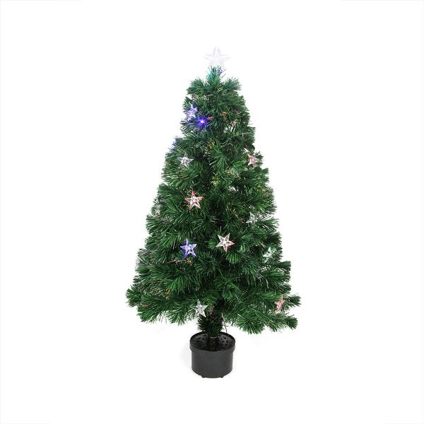 Shop 4 Pre Lit Led Fiber Optic Artificial Christmas Tree With Color