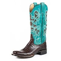 Stetson Western Boots Womens Alia Caiman Brown