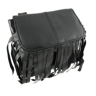 Black Leather Fringe Biker Ride Bag Belt Loop Purse