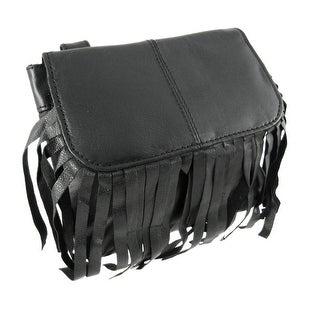 Black Leather Fringe Biker Ride Bag Belt Loop Purse