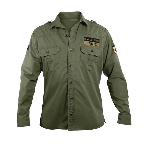 size 40 043bb b863c Little Earth NFL Mens Military Shirt, Large - New Orleans Saints