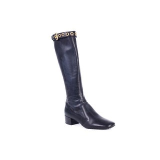 Car Shoe Women's Black Leather Gold Buckle Tall Boots