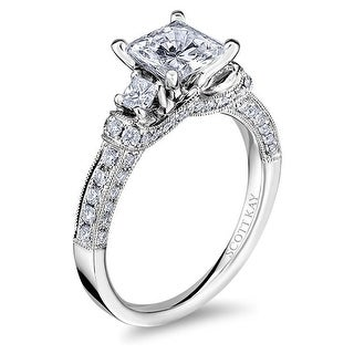 14kt White Gold Ladies Square Semi Mount Crown Setting with 0.68CTW Diamonds Wedding Band by Scott Kay