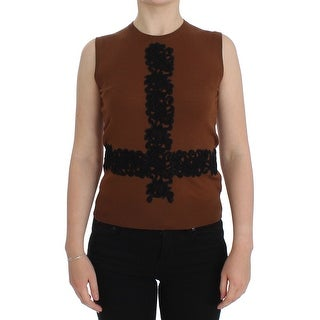Dolce & Gabbana Dolce & Gabbana Brown Wool Black Lace Vest Sweater Top