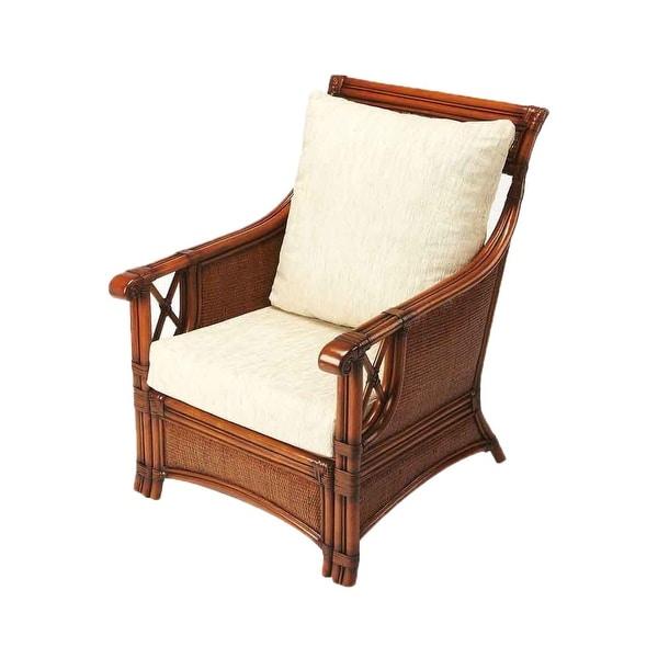 Offex Arihi Chestnut Rattan Distressed Rectangular Club Chair - Medium Brown