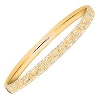 Greek Key Slip-On Bangle Bracelet in 14K Gold-Bonded Sterling Silver - Two-tone