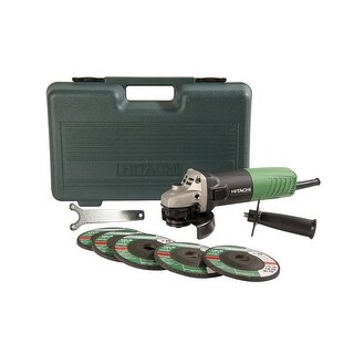 Hitachi G12SR4 Corded Angle Grinder with 5 Abrasive Wheels, 6.2-Amp