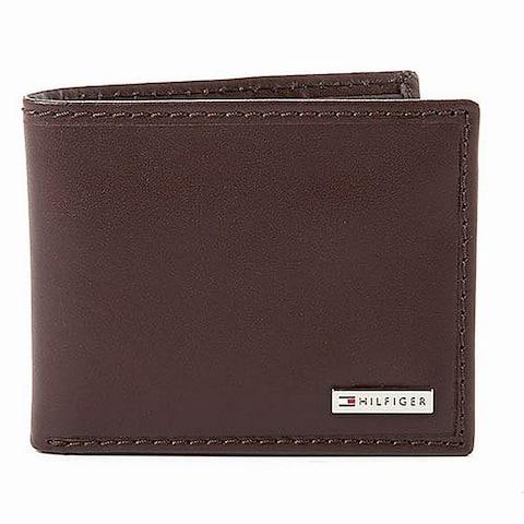 Tommy Hilfiger Men's Wallet Brown Leather Fordham Passcase Billfold