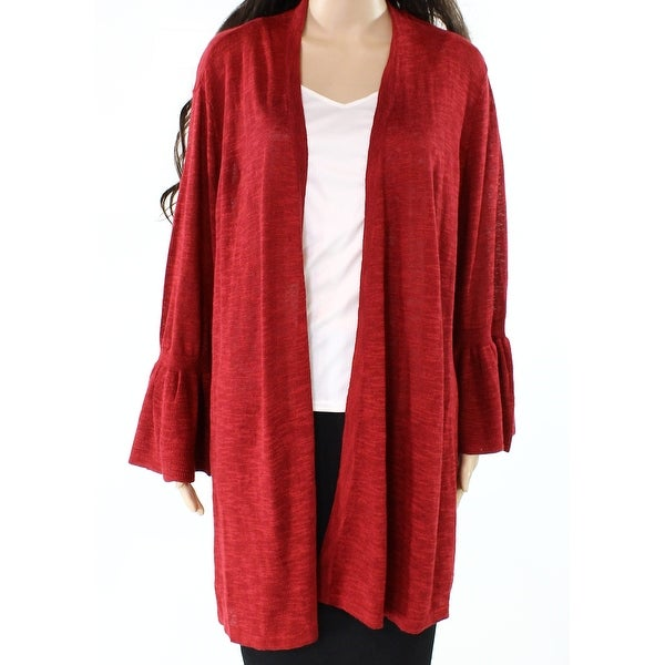 Shop Alfani Wine Red Womens Size Xl Bell Sleeve Flyaway Cardigan