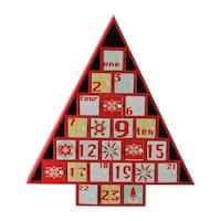 """14"""" Rustic Red and White Christmas Tree Shaped Advent Calendar Decoration"""