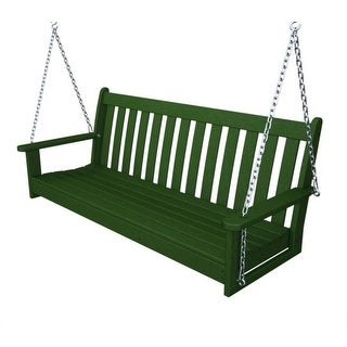 "60"" Recycled Tuscan Veranda Outdoor Patio Chain Swing - Forest Green"