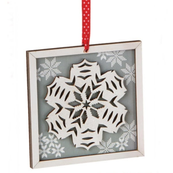 """5"""" Alpine Chic Country Rustic Style Silver and White Glittered Snowflake Framed Christmas Ornament"""