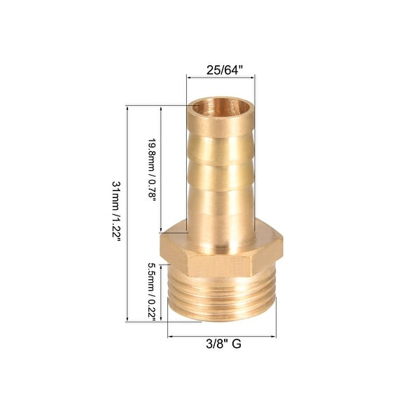 """10 x Hose Joiner Tee Piece 5//8/"""" x 5//8/"""" x 3//8/"""" Brass Barbed"""