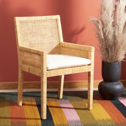 """SAFAVIEH Sarai Coastal Accent Chair with Cushion - 22.8"""" W x 22.4"""" L x 34.6"""" H"""
