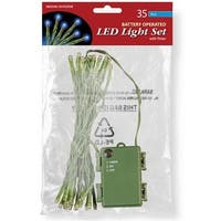 National Tree  35 Bulb Blue Battery Operated LED Lights in Poly Bag