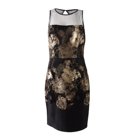 Betsey Johnson Women's Illusion Jacquard Sheath Dress - Black/Gold