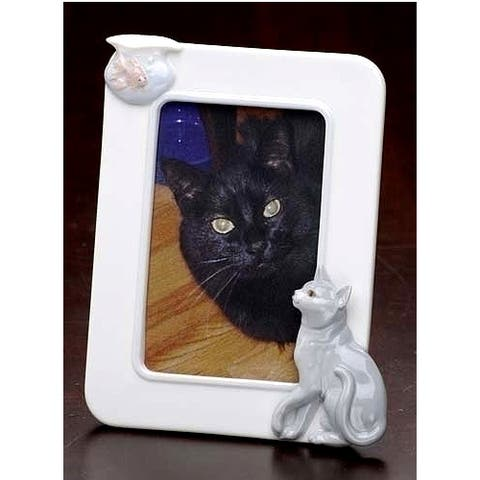 """Club Pack of 12 White Cat and Fish Tabletop Photo Frames 7.75"""""""