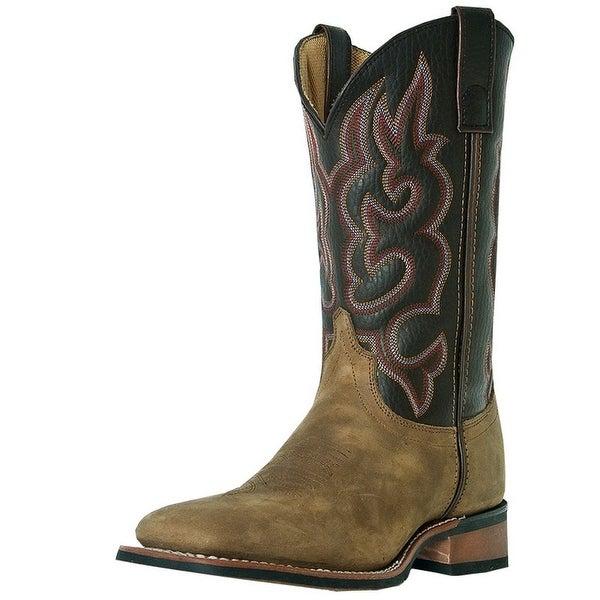 Laredo Western Boots Men Lodi Stockman Square Toe Taupe Chocolate