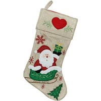 "15.5"" Burlap Santa Claus in Sleigh Embroidered Christmas Stocking - brown"
