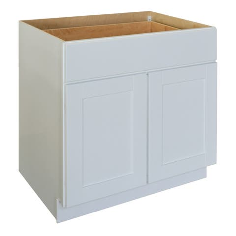 """Sunny Wood SHB33 Shaker Hill 33"""" Wide x 34-1/2"""" Tall Double Door Base Cabinet - Designer White"""