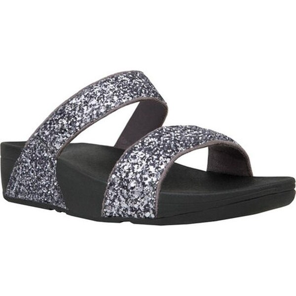 56d736ce7eea7b FitFlop Women  x27 s Glitterball Slide Sandal Pewter Glitter Microfiber