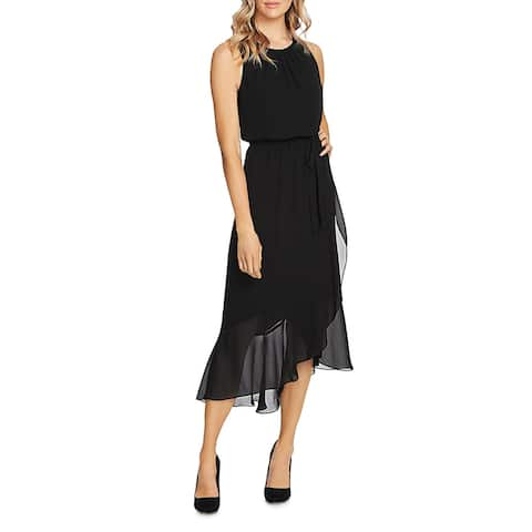 Vince Camuto Womens Midi Dress Ruffled Pleated-Neck - Rich Black