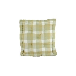 "15"" Tea Garden Khaki, White and Beige Plaid Reversible Chair Cushion"