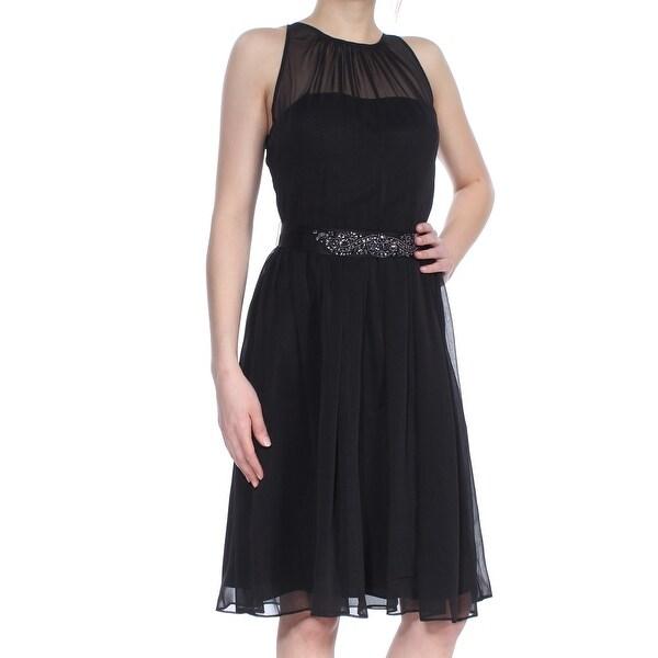 Shop Adrianna Papell Womens Black Embellished Sleeveless