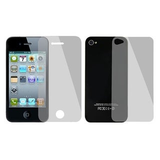 Unique Bargains Unique Bargains 2 in 1 Set Back Front Anti-glare Transparent Screen Protector for iPhone 4 4S