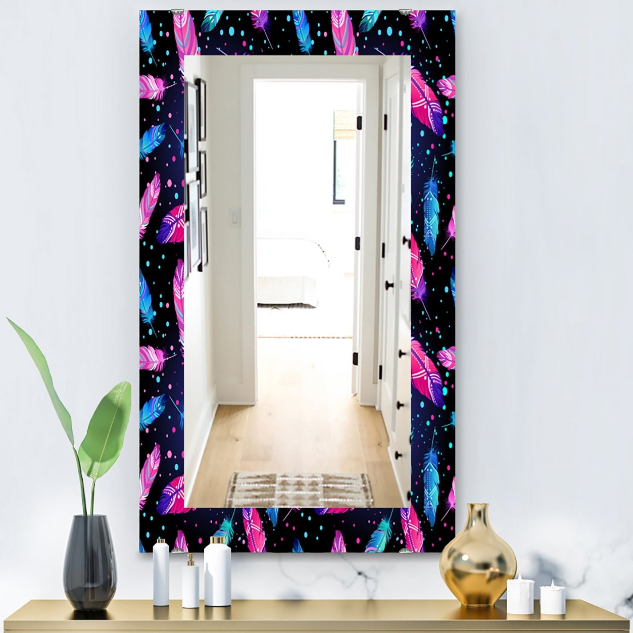 Designart Feathers 10 Bohemian And Eclectic Mirror Vanity Mirror Overstock 28557822