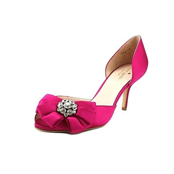 Kate Spade Womens Santarosa Peep-Toe Heels Satin Embellished