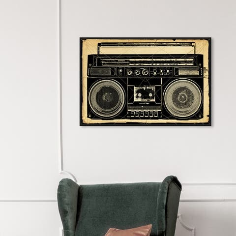 Oliver Gal 'Ghetto Blaster Print' Music and Dance Wall Art Framed Canvas Print DJ - Black, White
