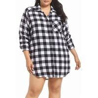 make + Model NORDSTROM Black Womens Size 3X Plus Plaid Sleepshirt