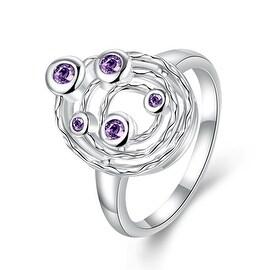 Purple Citrine Petite Gems Swirl Emblem Ring