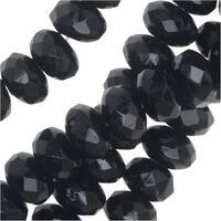 Czech Fire Polished Glass, Donut Rondelle Beads 7x4mm, 40 Pieces, Jet Black
