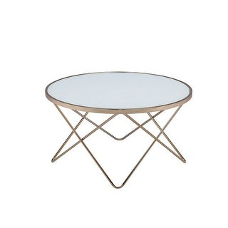 Coffee Table In Frosted Glass & Champagne - Glass, Metal Tube Frosted Glass & Champagne