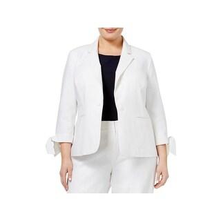 Nine West Womens Plus Casual Blazer Tie-Cuff One-Button - 16W