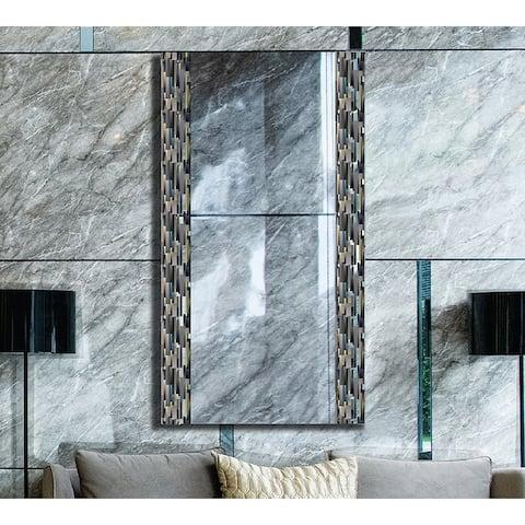 Blue Grey Brick Boarded Decorative Floating Frameless Designer Vanity Wall Mirror